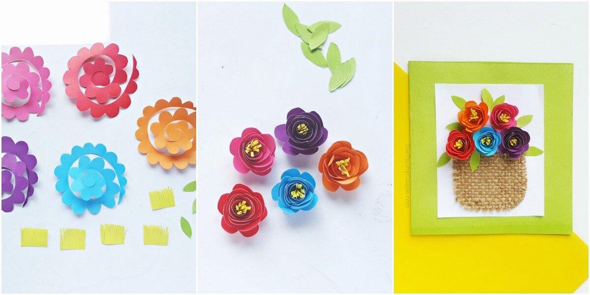 Paper Flower Template 3d Elegant 3d Paper Flower Basket Card Tutorial with Printable