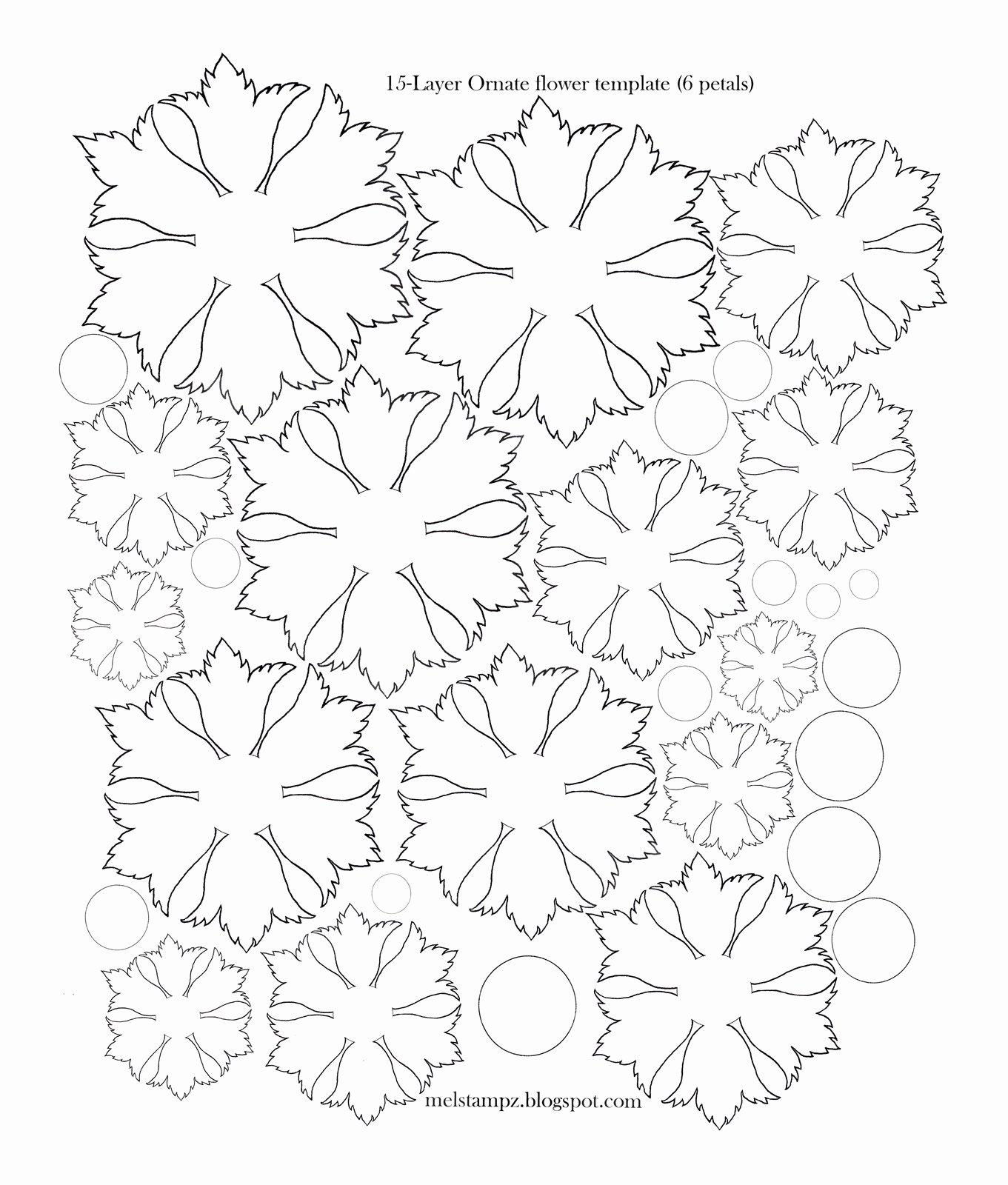 Paper Flower Template 3d Inspirational Mel Stampz 6 Petal ornate Flower Template