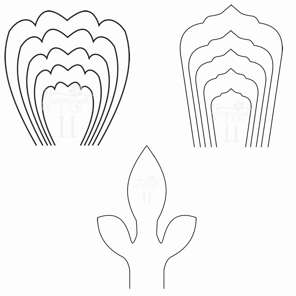 Paper Flower Template Pdf Fresh Pdf Set Of 2 Flower Templates and 1 Leaf Template Giant