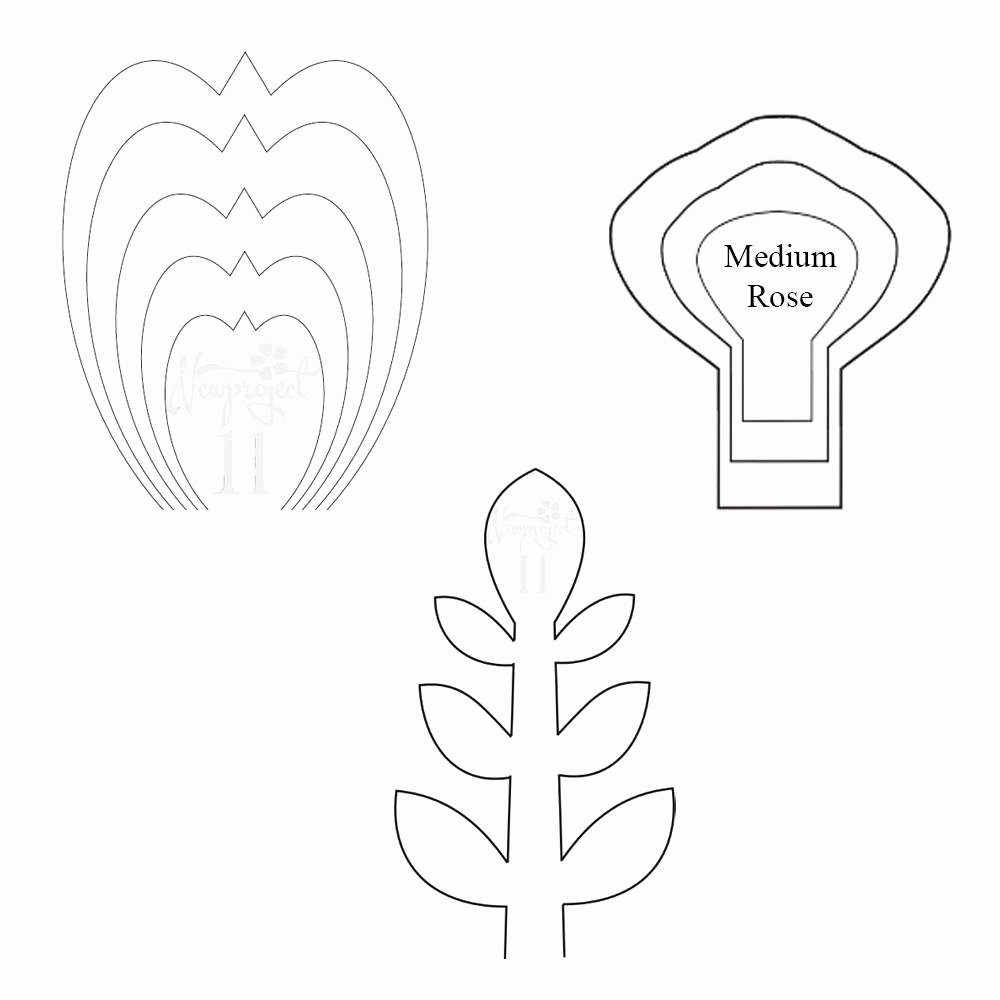 Paper Rose Template Pdf Best Of Pdf Set Of 2 Flower Templates and 1 Leaf Template Giant