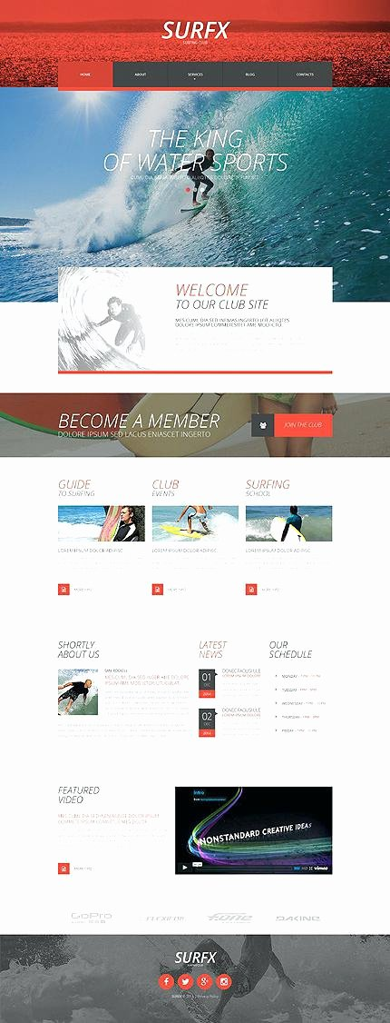 Parallax Website Template Free Inspirational Template Surfing Club Responsive Website with Slider