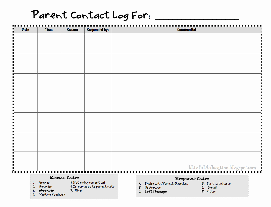 Parent Contact Log Template Awesome Blissful 4 Teaching