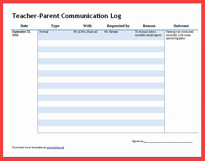 Parent Contact Log Template Beautiful Parent Contact Log Template