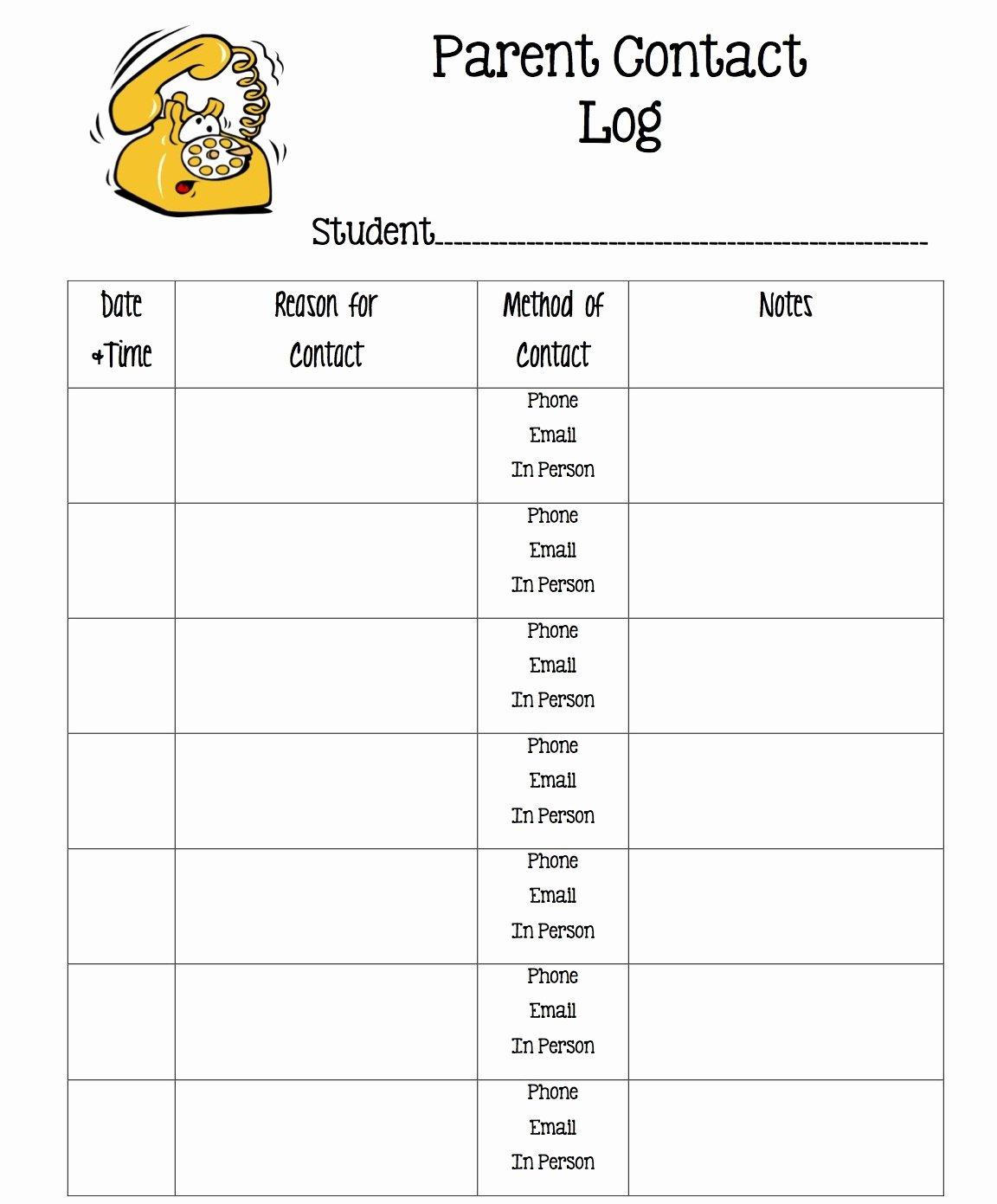 Parent Contact Log Template Inspirational Tween Teaching Parent Contact Log and Exit Slip Sheets