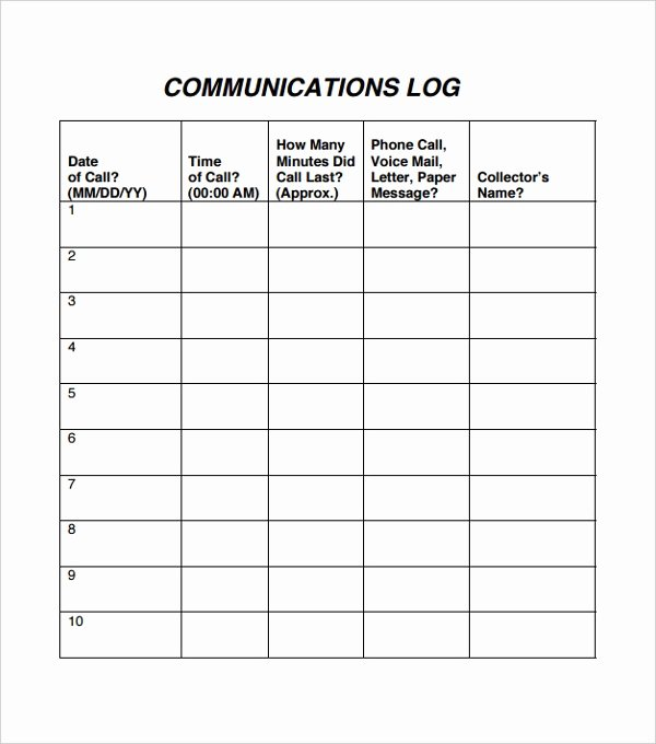 Parent Contact Log Template Luxury Munication Log Template – 8 Free Word Pdf Documents