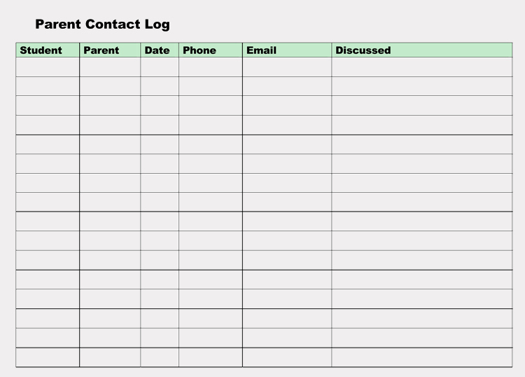 Parent Contact Log Template Luxury Printable Parent Contact Log Sheet Templates Excel Word