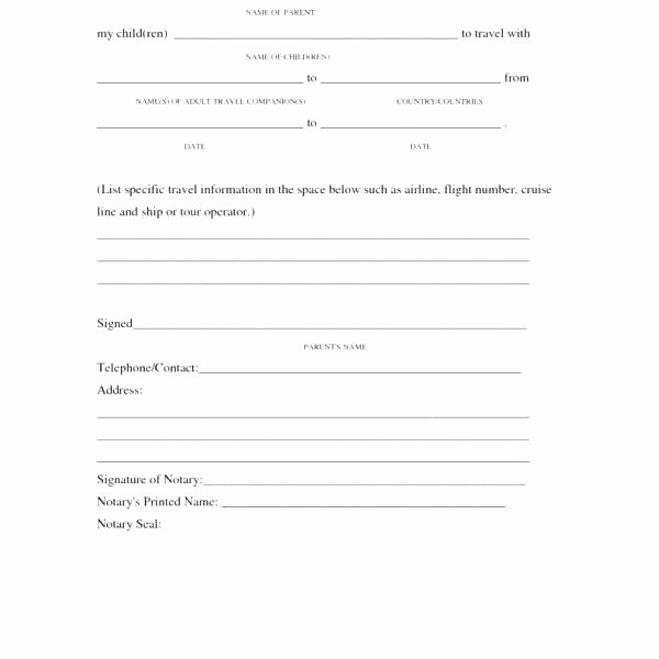 Parent Release form Template Awesome Travel Release form Template Parent Release form Template