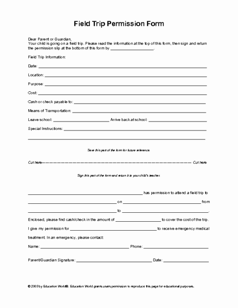 Parent Release form Template Beautiful Field Trip Permission Slip Template