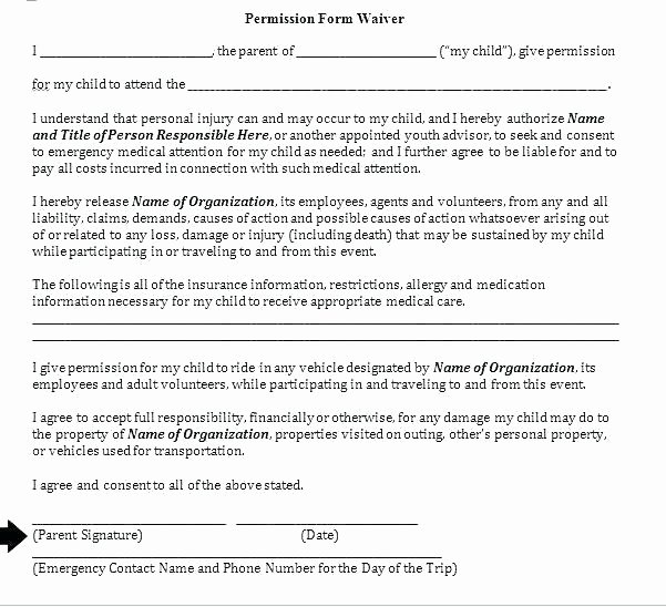 Parent Release form Template Beautiful Free Medical Release Template Creative Printable Consent