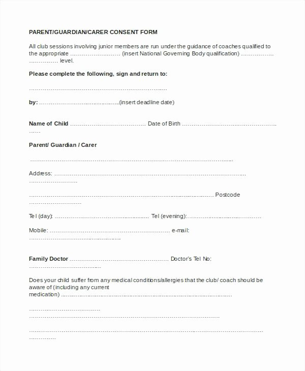 Parent Release form Template Elegant Travel Release form Template Best Parental Consent forms