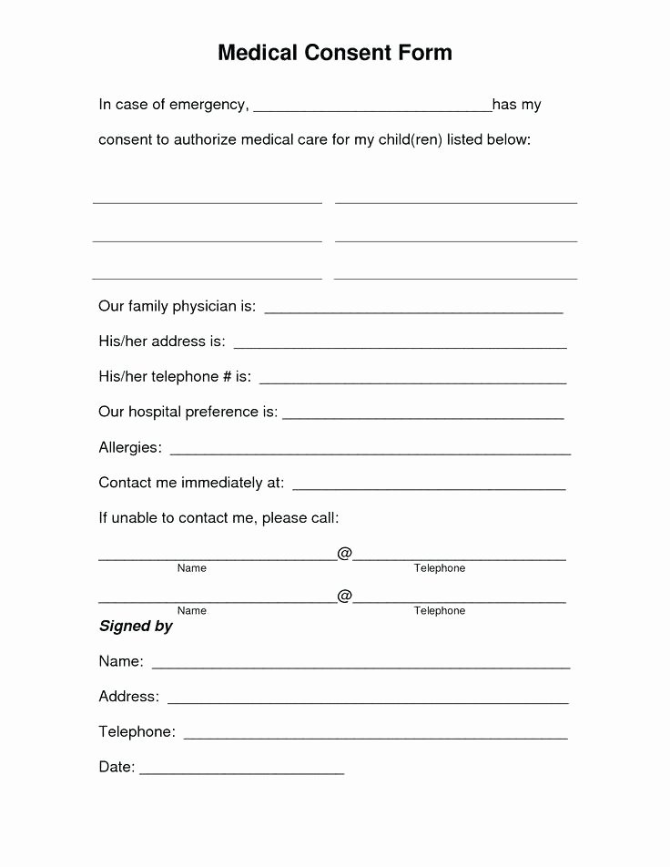 Parent Release form Template Fresh Parental Medical Consent form Template Best Example Child