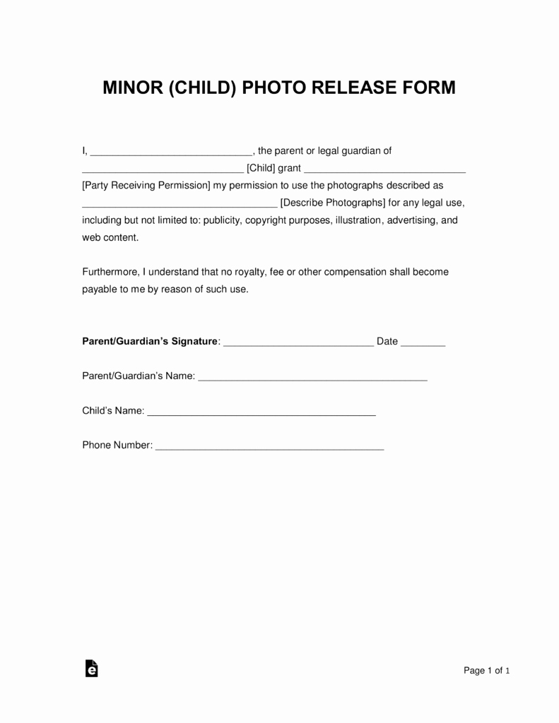 Parent Release form Template Inspirational Free Minor Child Release form Word