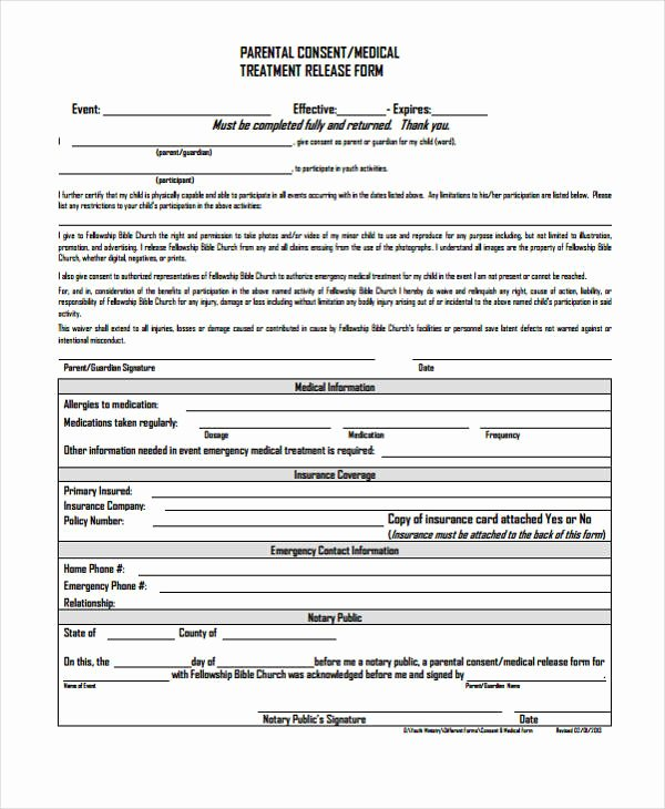 Parent Release form Template New 24 Medical Release form Templates
