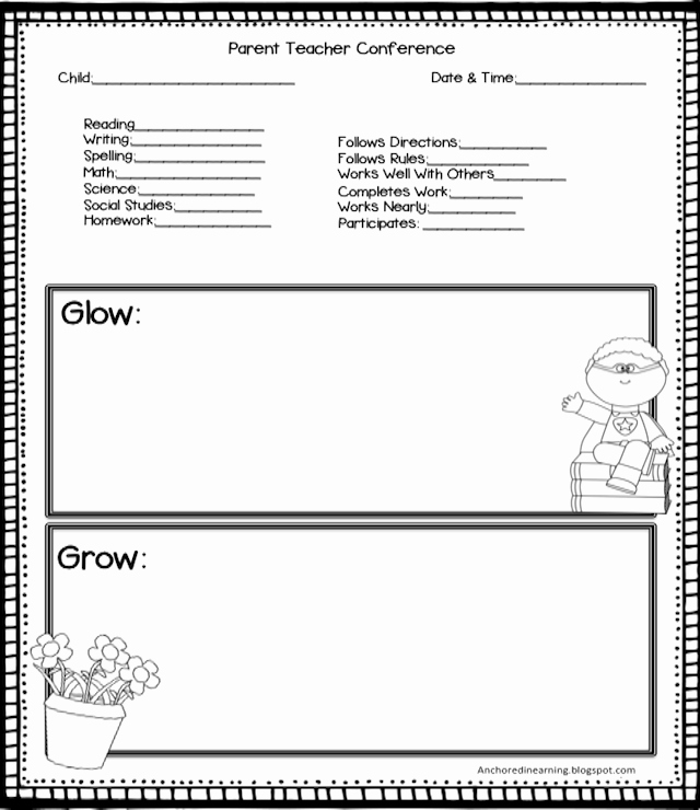 Parent Teacher Conference Template Fresh Anchored In Learning You Oughta Know August Blog Hop