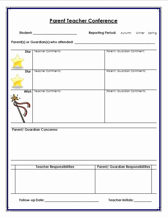 Parent Teacher Conference Template Inspirational 7 Best Of Parent Teacher Conference Printables