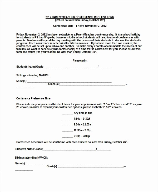 Parent Teacher Conference Template Inspirational 9 Sample Parent Teacher Conference forms