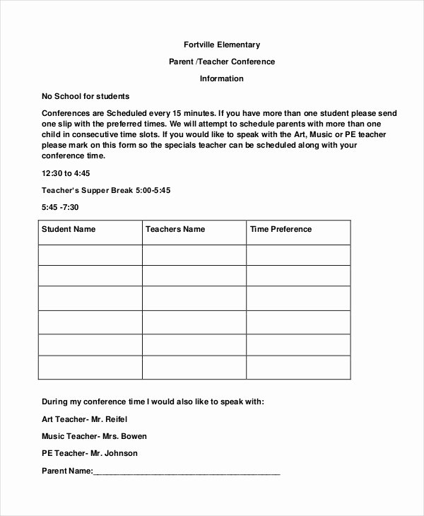 Parent Teacher Conference Template Luxury 9 Parent Teacher Conference forms Free Sample Example