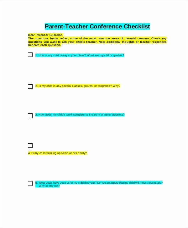Parent Teacher Conference Template Unique 9 Parent Teacher Conference forms Free Sample Example