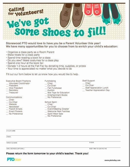 Parent Volunteer form Template Best Of We Ve Got some Shoes to Fill Parent Volunteer form