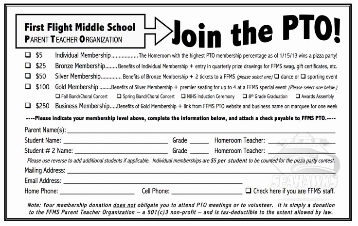 Parent Volunteer form Template New Ffms Pto Membership form 2012 Copy 1202×762