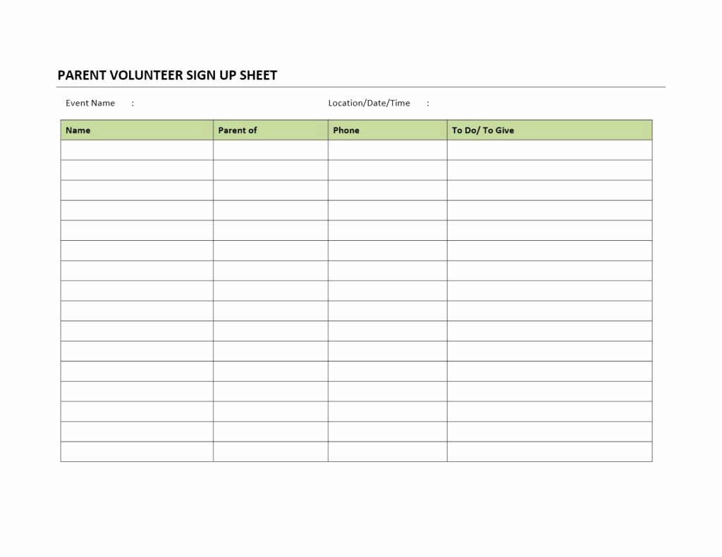 Parent Volunteer form Template New Parent Volunteer Sign Up Sheet