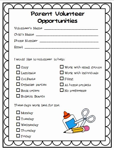 Parent Volunteer form Template Unique Parent Volunteer form to Print
