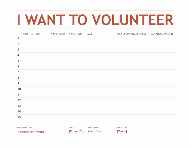 Parent Volunteer form Template Unique Volunteer Sign Up Sheet Templates