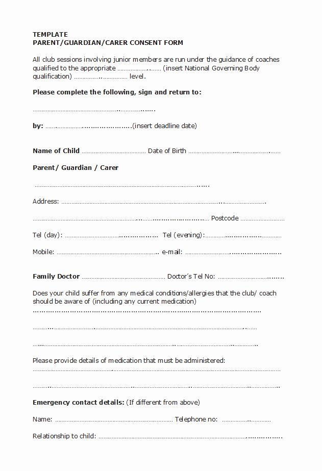 Parental Consent form Template Awesome 50 Printable Parental Consent form & Templates Template Lab