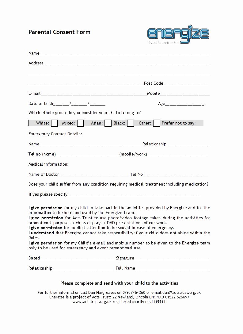 Parental Consent form Template Elegant 50 Printable Parental Consent form & Templates Template Lab