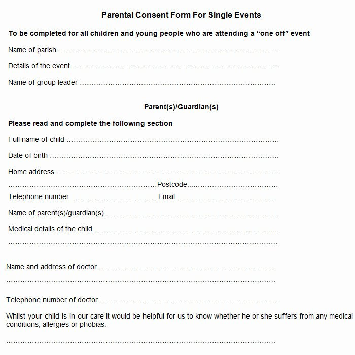 Parental Consent form Template Elegant Sample Parental Consent form