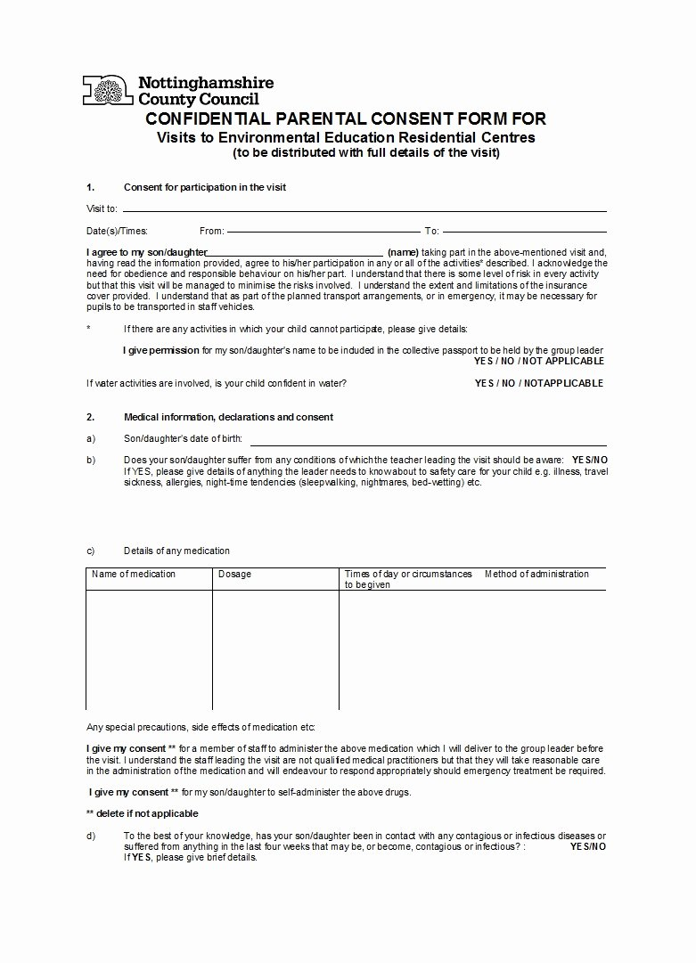 Parental Consent form Template Fresh 50 Printable Parental Consent form & Templates Template Lab