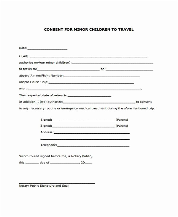 Parental Consent form Template Fresh Parental Consent to Travel form Template Free Child Travel