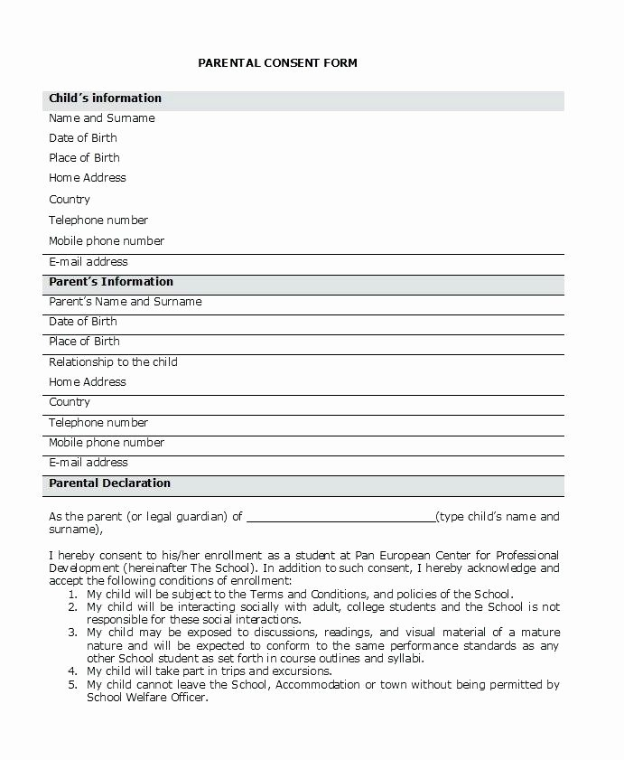 Parental Consent form Template Inspirational Parental Consent form Template Elegant Medical forms Word