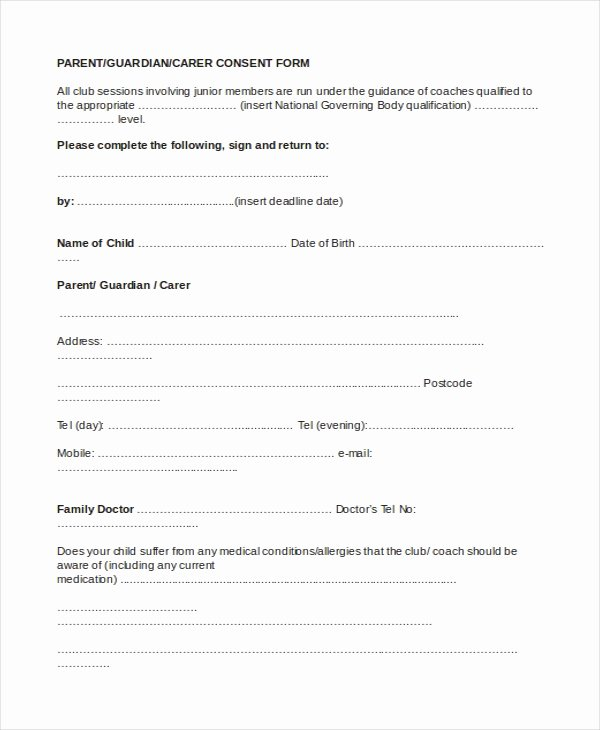 Parental Consent form Template Inspirational Sample Parental Consent form 10 Free Documents In Word Pdf