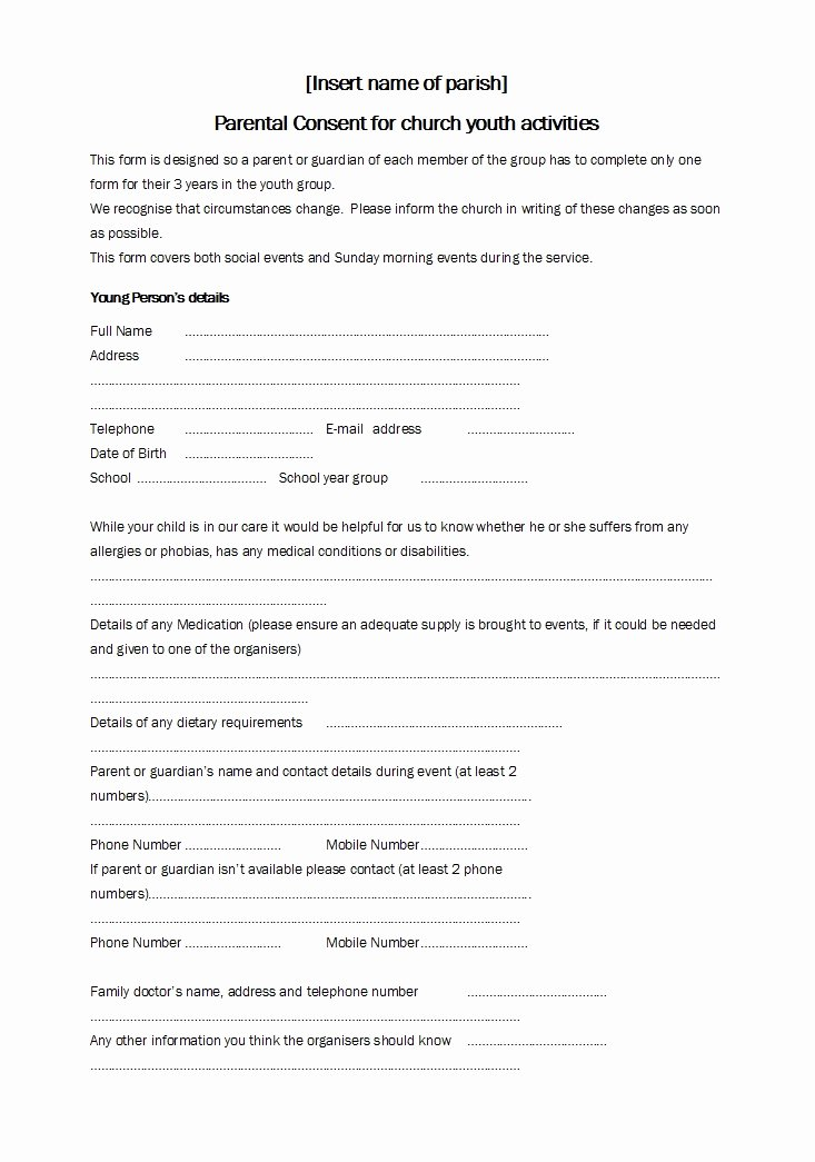 Parental Consent form Template Unique 50 Printable Parental Consent form & Templates Template Lab