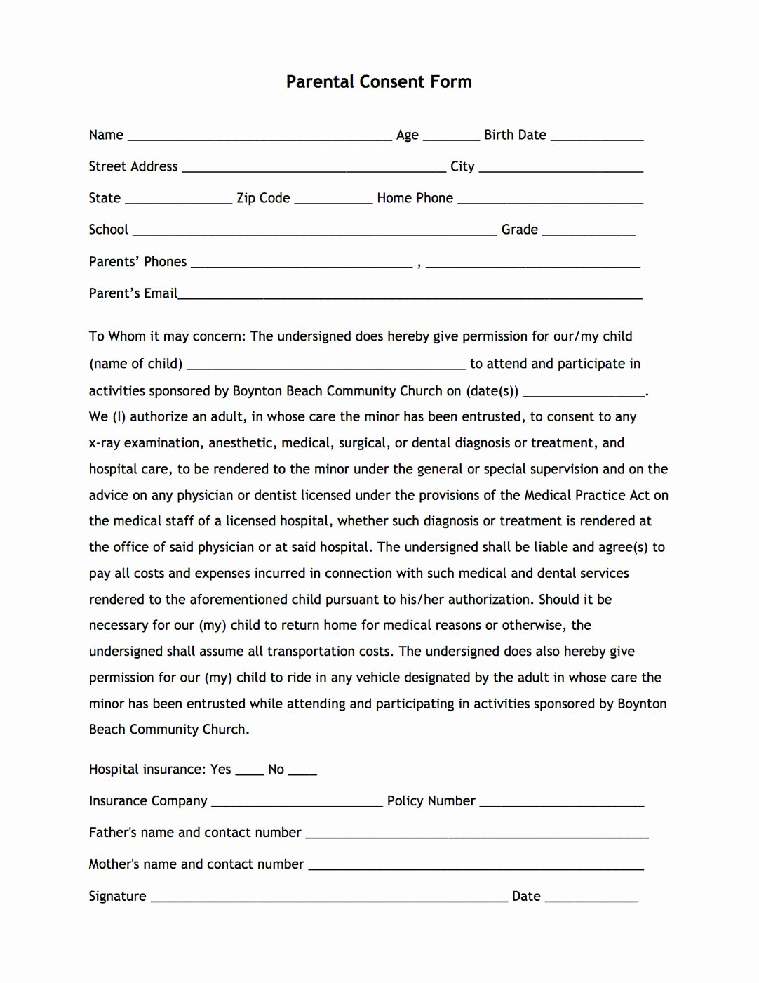 Parental Consent form Template Unique Boynton Beach Munity Church Boynton Beach Fl