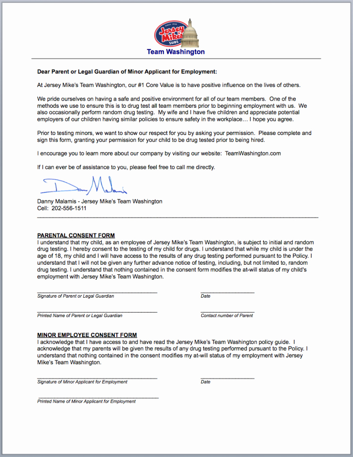 Parental Consent form Template Unique Consent Drug Test Consent form
