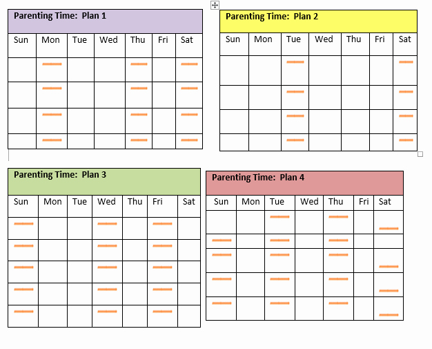 Parenting Time Calendar Template Lovely Visitation Schedule Template