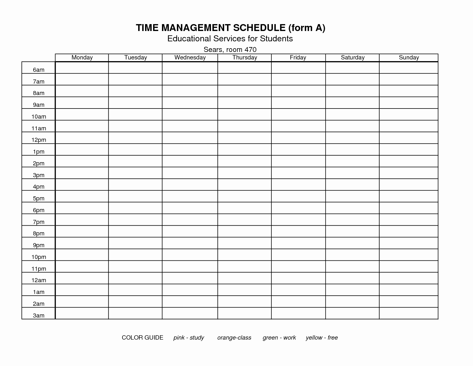 Parenting Time Calendar Template Luxury 7 Best Of Free Printable Time Management forms