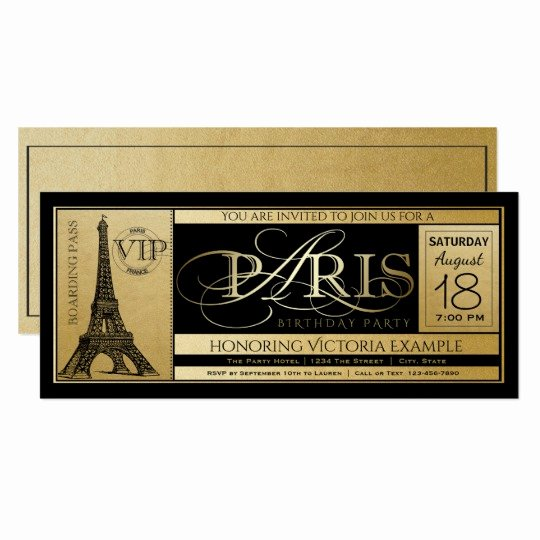 Paris Passport Invitation Template Elegant Paris Birthday Party Invitation Ticket Invitations