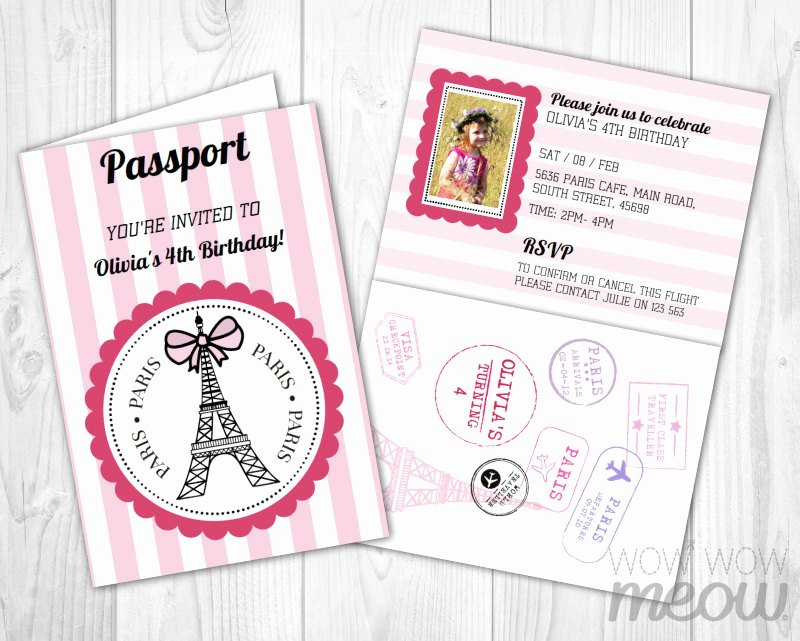 Paris Passport Invitation Template Elegant Paris Passport Invitation Instant Download Add A Pink