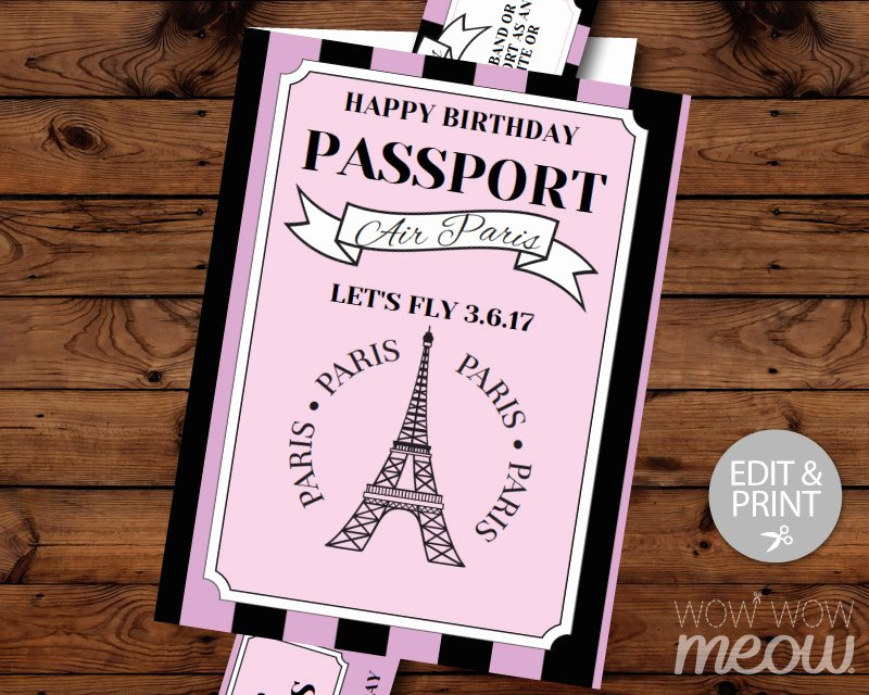 Paris Passport Invitation Template Fresh Paris Birthday Invitation Passport Plane Ticket Invite Eiffel