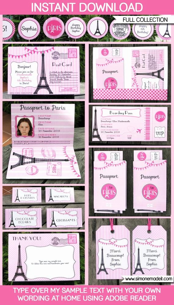 Paris Passport Invitation Template Inspirational Paris theme Party Invitation & Decorations Full