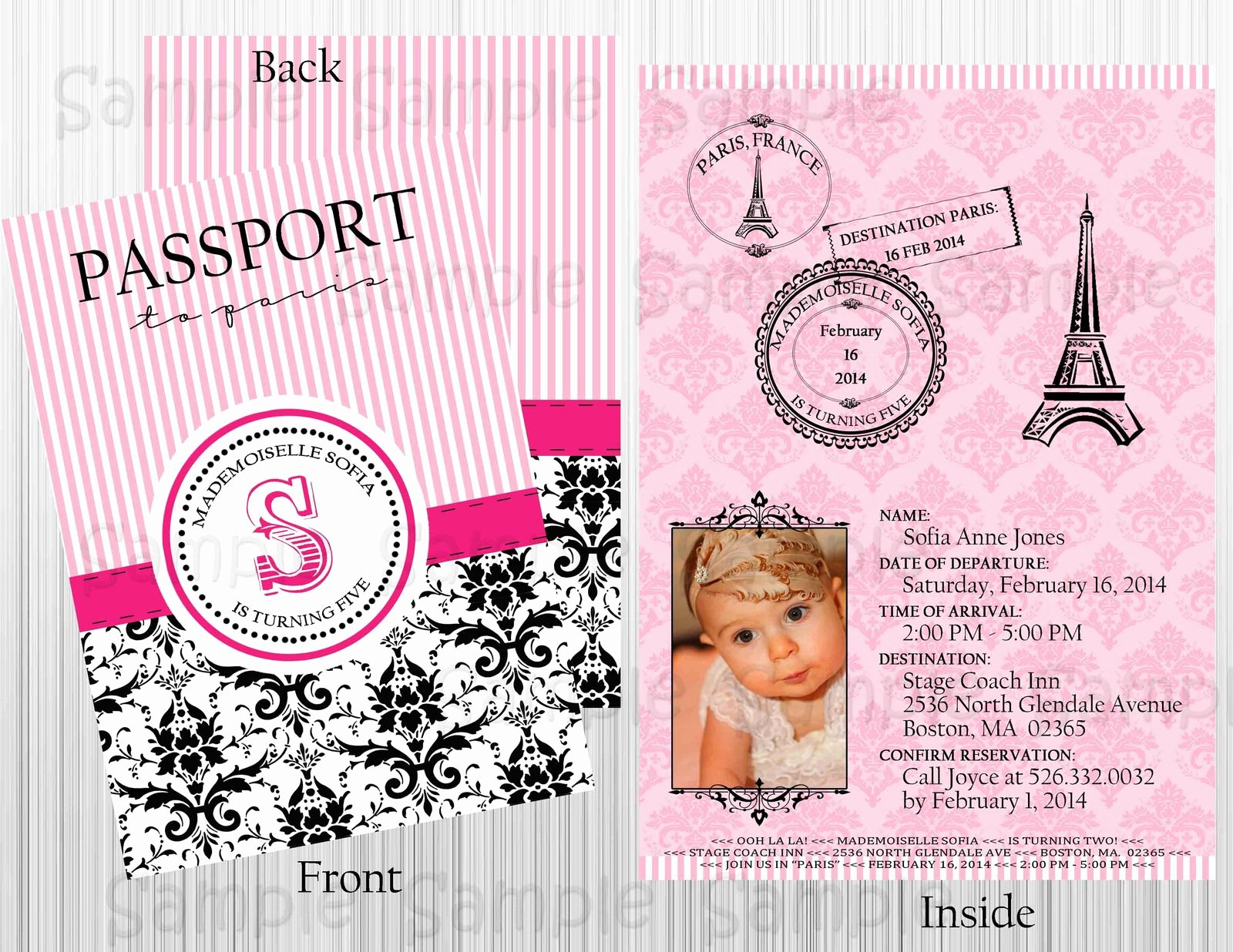 Paris Passport Invitation Template Lovely Custom Paris Passport Printable Invitation Birthday Baby