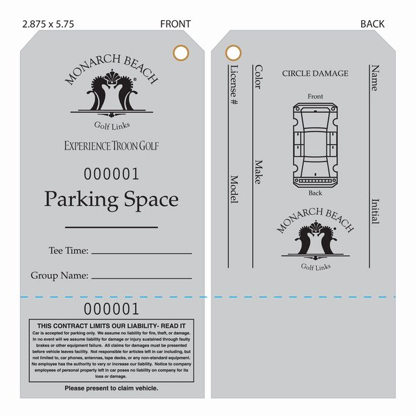 Parking Hang Tag Template Awesome Custom Printed Valet Ticket Parking Tags