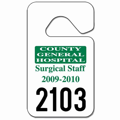 "Parking Hang Tag Template Lovely Parking Permit Hang Tags 2 3 4"" X 4 3 4"""