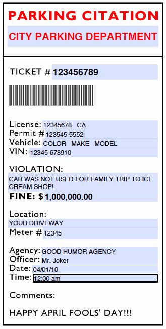 Parking Ticket Template Word Elegant Fake Parking Ticket Template