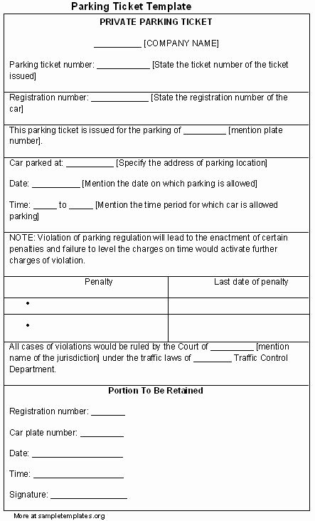 Parking Ticket Template Word Lovely Ticket Template for Parking Sample Of Parking Ticket