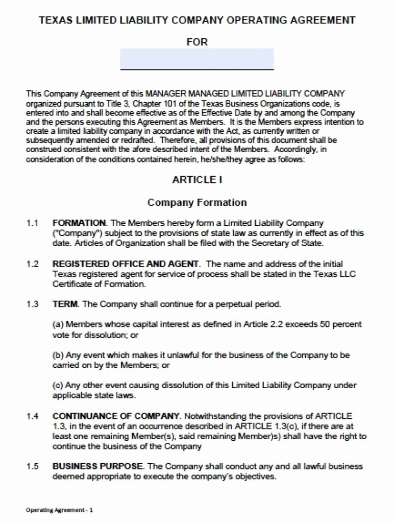 Partnership Agreement Template California Beautiful Download Texas Llc Operating Agreement Template Llc