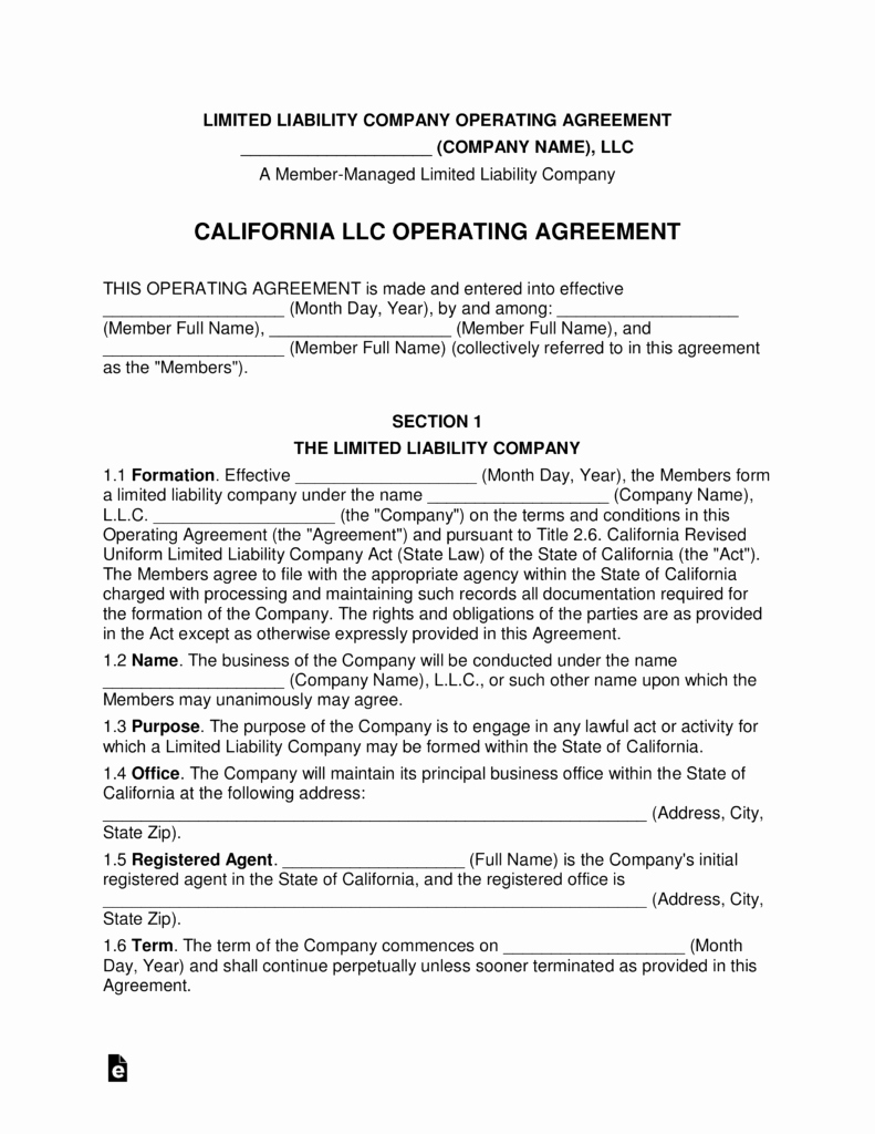 Partnership Agreement Template California Fresh Free California Multi Member Llc Operating Agreement form